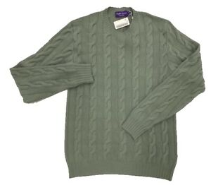 $1,000 Ralph Lauren Purple Label Green Cashmere Sweater Size XL Made In Italy