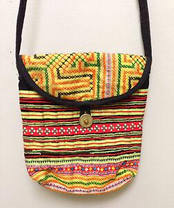 Hmong Hill Tribe Embroidered Yellow Handbag
