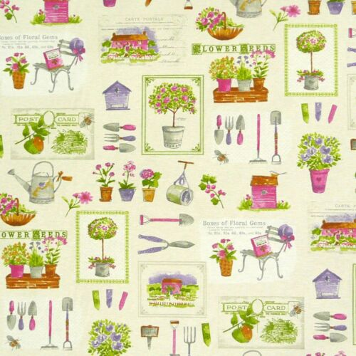 Dekostoff natur Garten Werkzeug Blumen