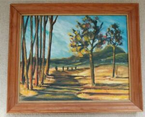 Vintage-1960-039-s-Acrylic-Painting-Landscape-Signed-Unknown-Framed-19-5x23-5