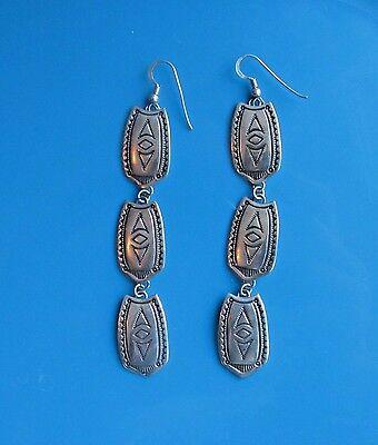 Vintage 925 Sterling Silver Stamped Navajo Southwestern 3 Panel Earrings