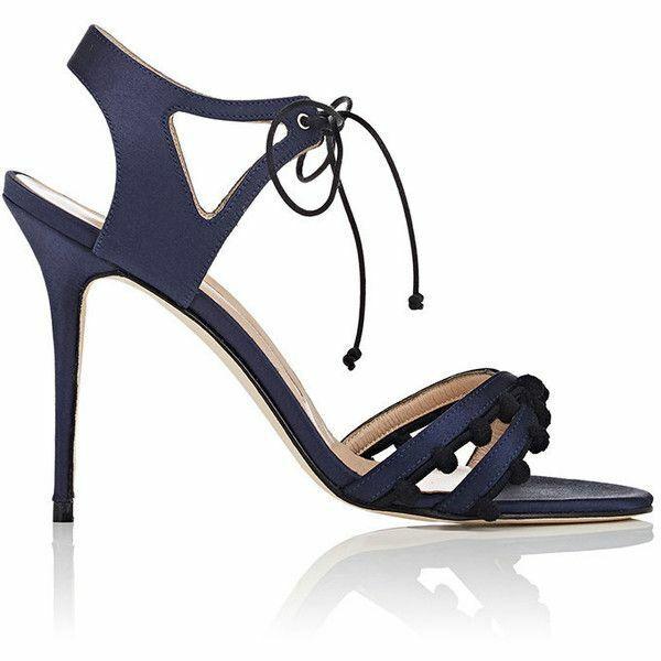 795 New Manolo Blahnik ESPARRA Navy Blac Satin Pom Pom Tie Up Sandal shoes 41.5