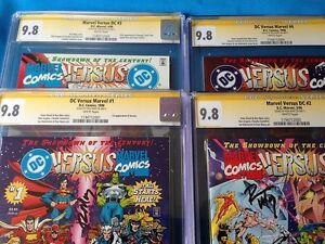 DC-versus-Marvel-1-2-3-4-set-all-CGC-SS-9-8-NM-MT-all-Signed-by-Ron-Marz