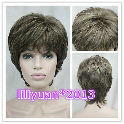 New sexy ladies short dark brown Blonde mixed Natural Hair wigs + Wig cap