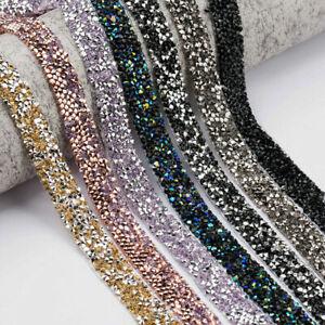 Bling-Crystal-Rhinestone-Chain-Trim-Ribbon-Craft-DIY-Wedding-Dress-Sewing-Decor