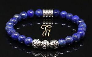 Lapislazuli-blau-Armband-Bracelet-Perlenarmband-Silber-Beads-8mm