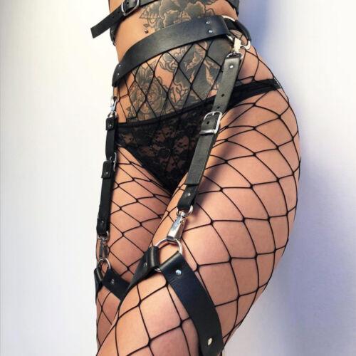 Women Leather Garter Belt Waist Leg Restraints Harness Lingerie Belt Clubwear