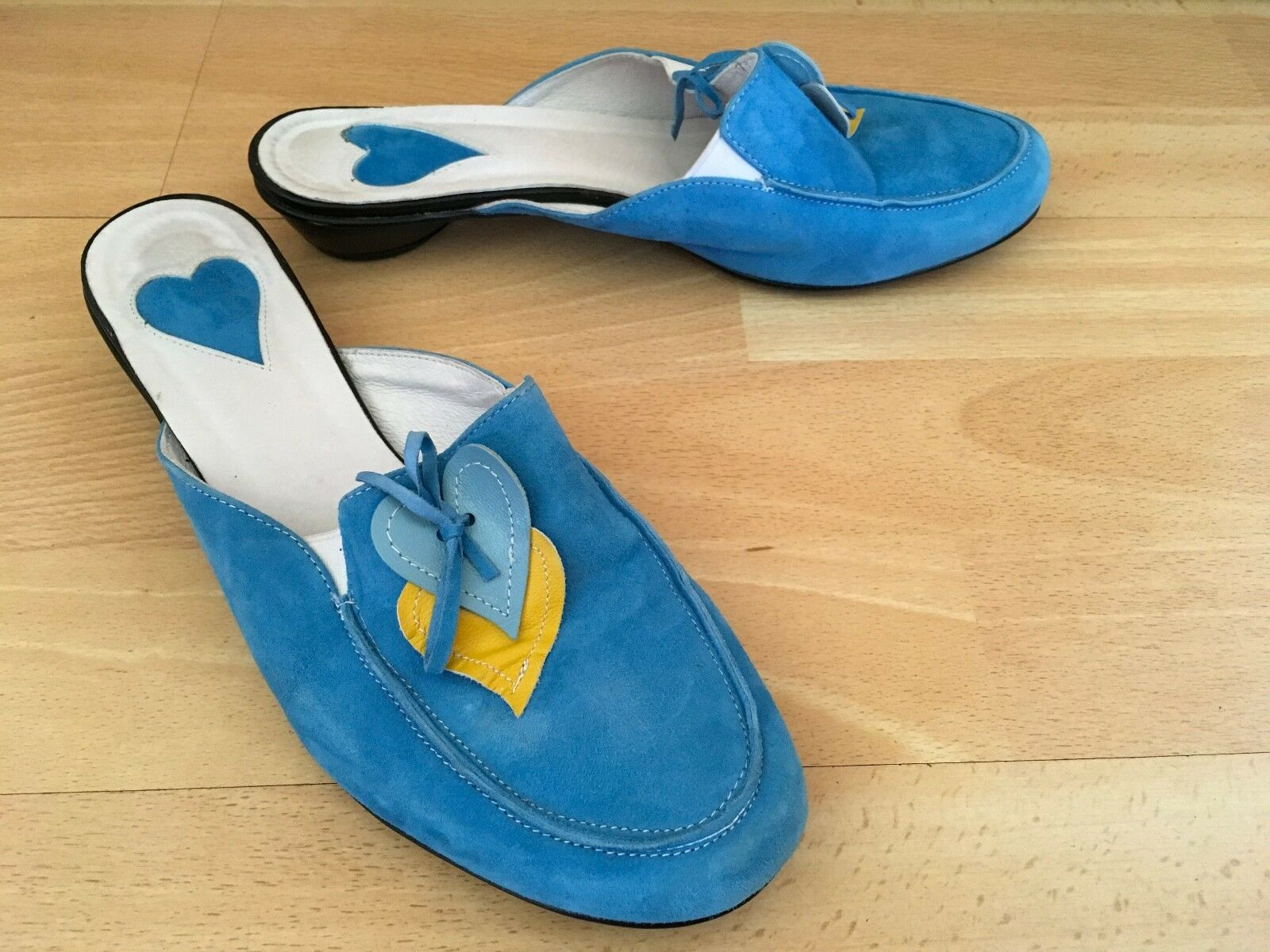 Baldowski Quirky Turquoise Leather Suede Mules Sandals Shoes Size EU 38 UK 5