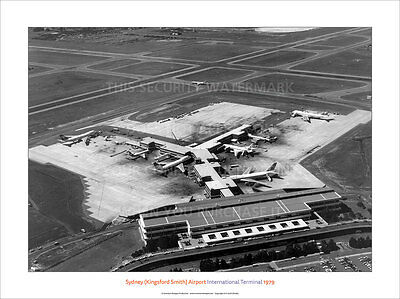 """Transportation Capable Sydney Airport 1979 Intl Terminl 24"""" X 18"""" Ultraprint Poster Image Photo Picture Elegant Appearance Airlines"""