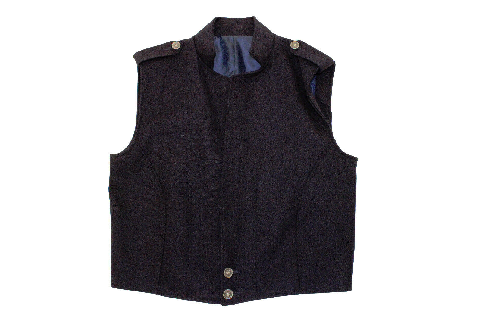 NEW Blue LOWLANDER Vest 100% Wool - WITH LAPELS - reduced to clear