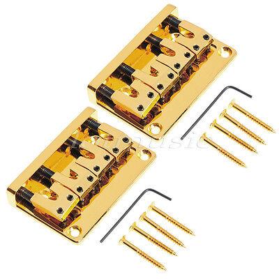 2set Gold 4 String Bass Bridge For Electirc Guitar L Shape Saddle Spacing 18mm