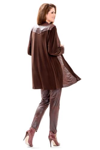 mit softig weichem Lederoptik Besatz dunkelbraun MAGNA Lagenlook Blazer Jacke
