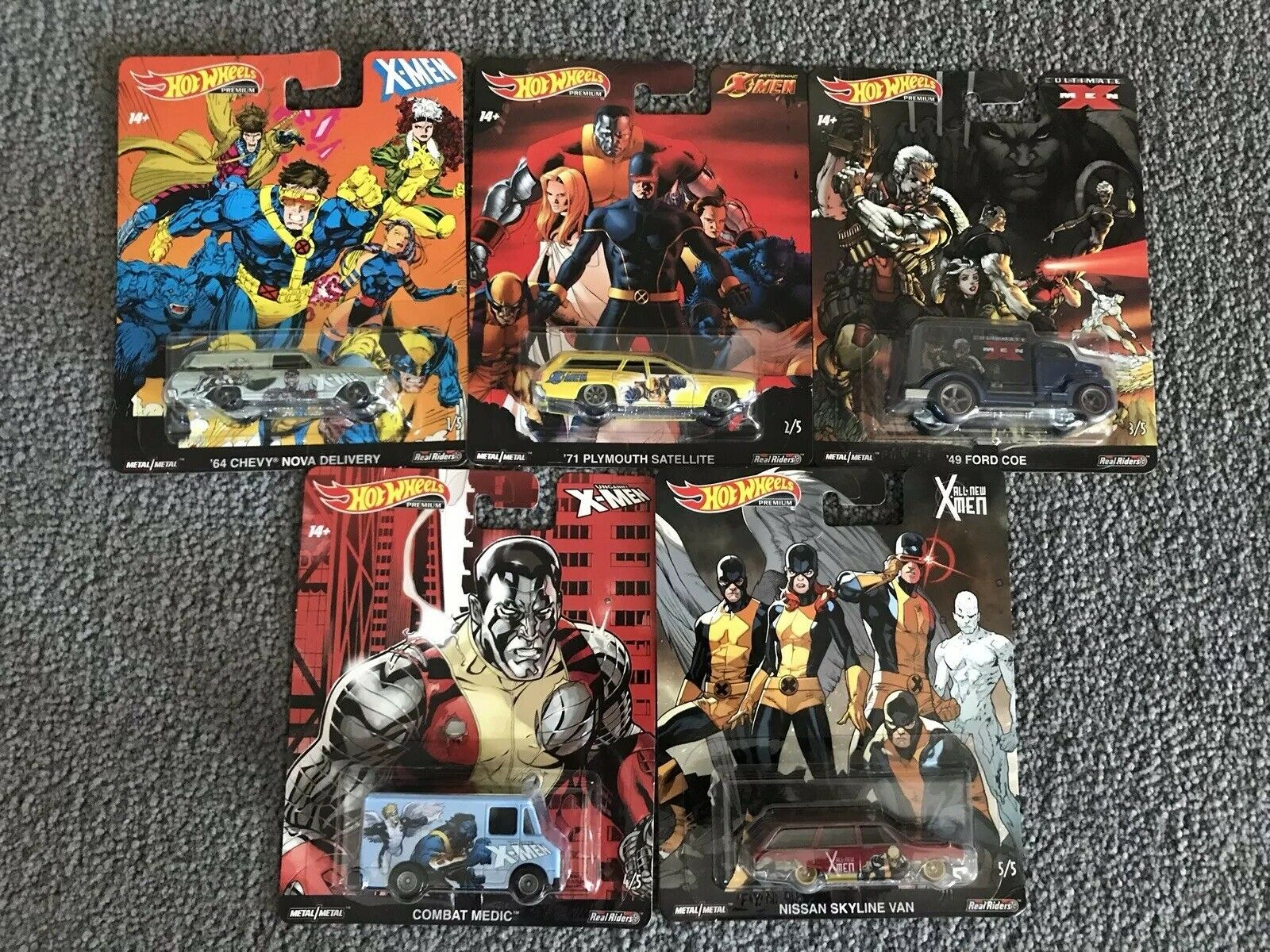 2019 HOT WHEELS MARVEL X-MEN SET OF 5 Skyline Van Chevy Nova Plymouth Ford