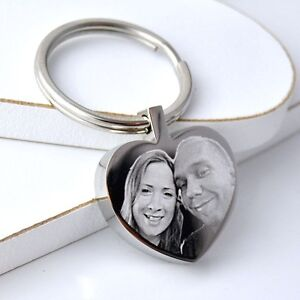 Personalised-Metal-Silver-Heart-Keyring-Keychain-YOUR-PHOTO-amp-TEXT-ENGRAVED