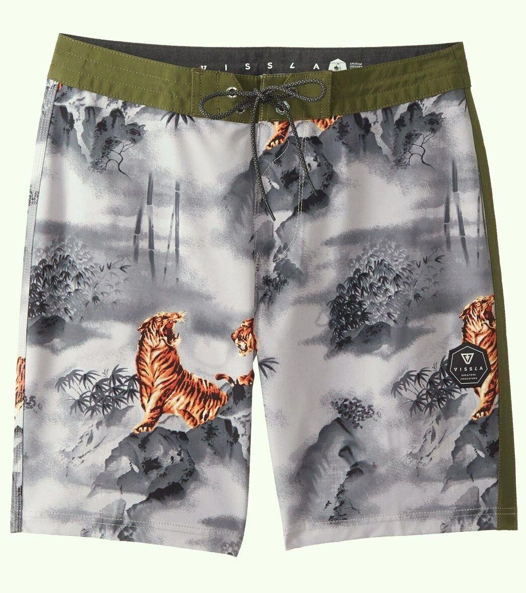 VISSLA Men's MYSTY MOUNTAIN Board Shorts - Steel - Size 30 - NWT