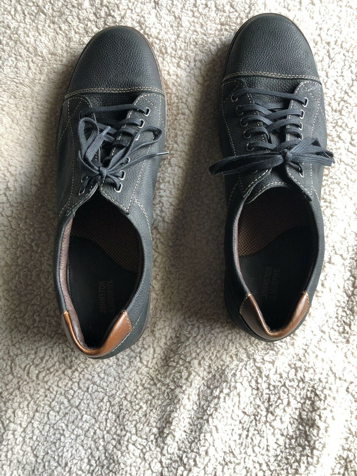 Johnston And Murphy Lace Up Sneakers Black Sheepskin  Leather - Men's US Size 13