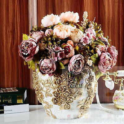 Artificial 10 Head Bouquet Peony Silk Flower Fake Wedding Leaf Home Party Decor
