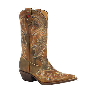 e4abdd25c30 Details about Rocky RW022 HandHewn Western Cowgirl Cowboy Boots Womens  Brown Snip Toe 8M