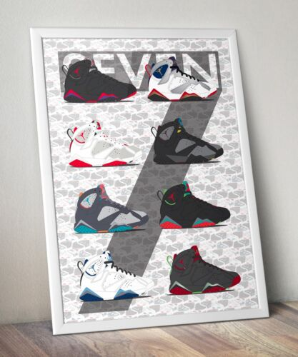 Raptor Olympic Barcelona Days Nights Marvin Jordan 7 Vector Wall Art Poster