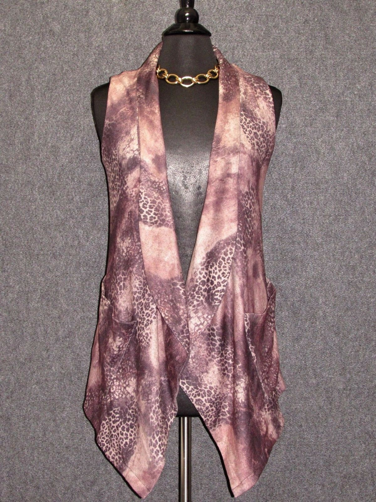 ABERTO MAKALI colorful Animal Print Sleeveless Open Front Sweater Vest SZ S NEW