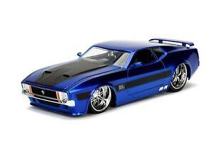 1973-Ford-Mustang-Mach-1-1-24-Jada-Big-Time-Plata-Azul-Coche-Modelo-Diecast-muscular
