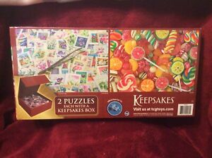Keepsakes-SureLox-2-Pack-Puzzles-1-000-pieces-Stamp-collection-amp-Fruit-Candy