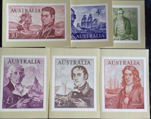 Australia 1964 Navigators Series 1 Set Of 6 Mint Philatelic Postcards Rare