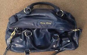 Auth miu miu By Prada Leather 2 way Shoulder Hand Bag Navy blue ... d36ffcd1b9f62