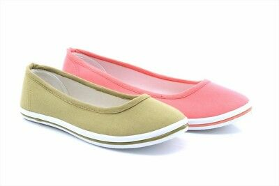 DEK Womens Ladies Canvas Slip-On Ballerina Plimsolls Shoes Pumps Taupe//Coral