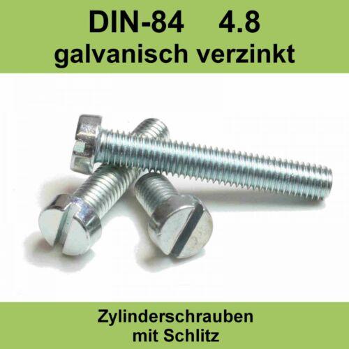 M3,5x DIN 84 verzinkte Zylinderschrauben Zylinderkopfschrauben mit Schlitz M 3,5