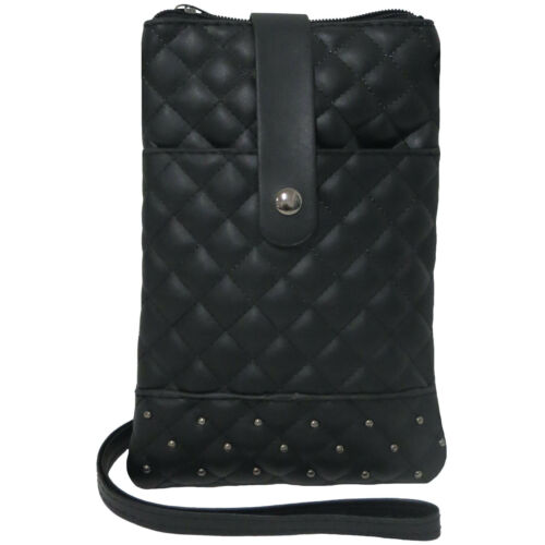3 Total Pockets Quilted Phone Crossbody Bag Front Pocket Fits Any Size Phone