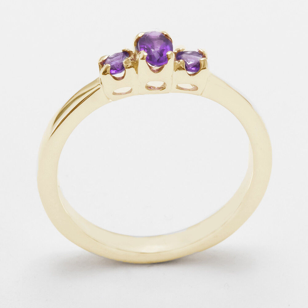 9ct Yellow gold Natural Amethyst Womens Trilogy Ring - Sizes J to Z
