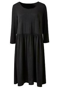 ex-SImply-Be-Black-Jersey-Smock-Dress-Knee-Length-3-4-Sleeve-Scoop-Neck