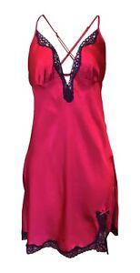 Womens-Ladies-Designer-Short-Sexy-Deep-Red-Lace-Trim-Silk-Chemise-Nightgown