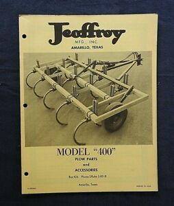 "1960's JEOFFROY MFG AMARILLO TX ""MODEL 400 PLOW"" PARTS CATALOG MANUAL VERY NICE"