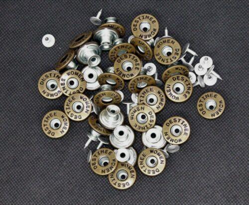Rostfrei Nähfrei 17 mm Ø Jeans Knöpfe in Brüniert und Gold Hosenknöpfe Metall
