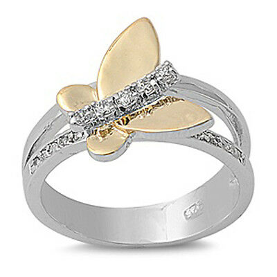 TWO TONE BUTTERFLY CUBIC ZIRCONIA ACCENT .925 Sterling Silver Ring Sizes 6-10