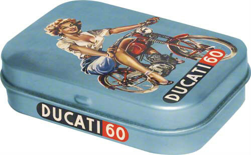 Retro Tin Metal Pill Box DUCATI w Mints 6x4cm Pin Up Advert Style Licensed Prod