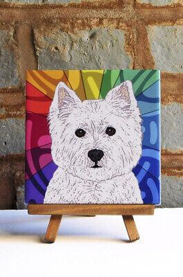 West Highland White Terrier dog decor wine decor westie art animal decor dog coaster dog gift wine tile wine coaster animal art tile