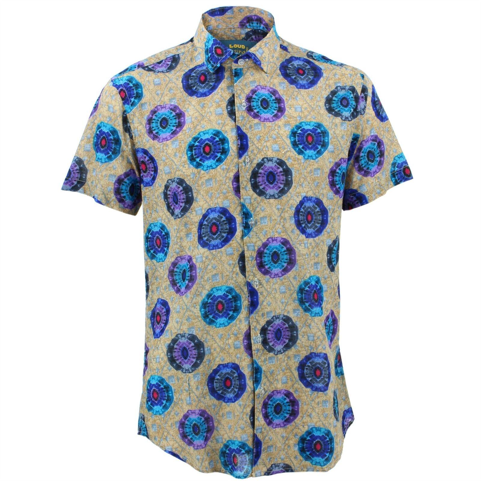 Camicia da Uomo Loud Originals Slim Fit Caleidoscopio Blu Retro Decorato