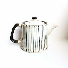 Vintage JAPANESE STUDIO POTTERY HAND-THROWN Off-White INDIGO STRIPED TEAPOT
