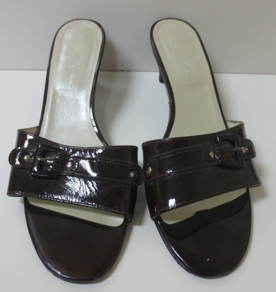 ROBERT CLERGERIE Brown Patent Leather Sandals Slides shoes 9.5 M MINT CONDITION