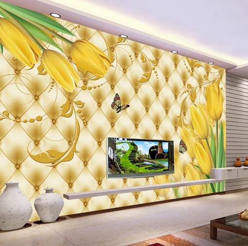 3D Gelb Tulips Butterfly 25 Wall Paper Wall Print Decal Wall AJ WALLPAPER CA