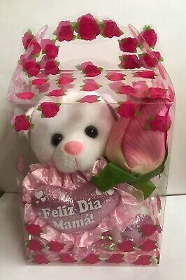 """Small 6/"""" White Teddy Bear /"""" I Love You  Mom /"""" Rose Clear Gift Box Mother/'s Day"""