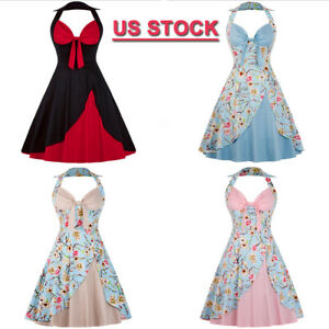 CLEARANCE-Women-Party-Rockabilly-Floral-50-Swing-Vintage-Pinup-Halter-Prom-Dress