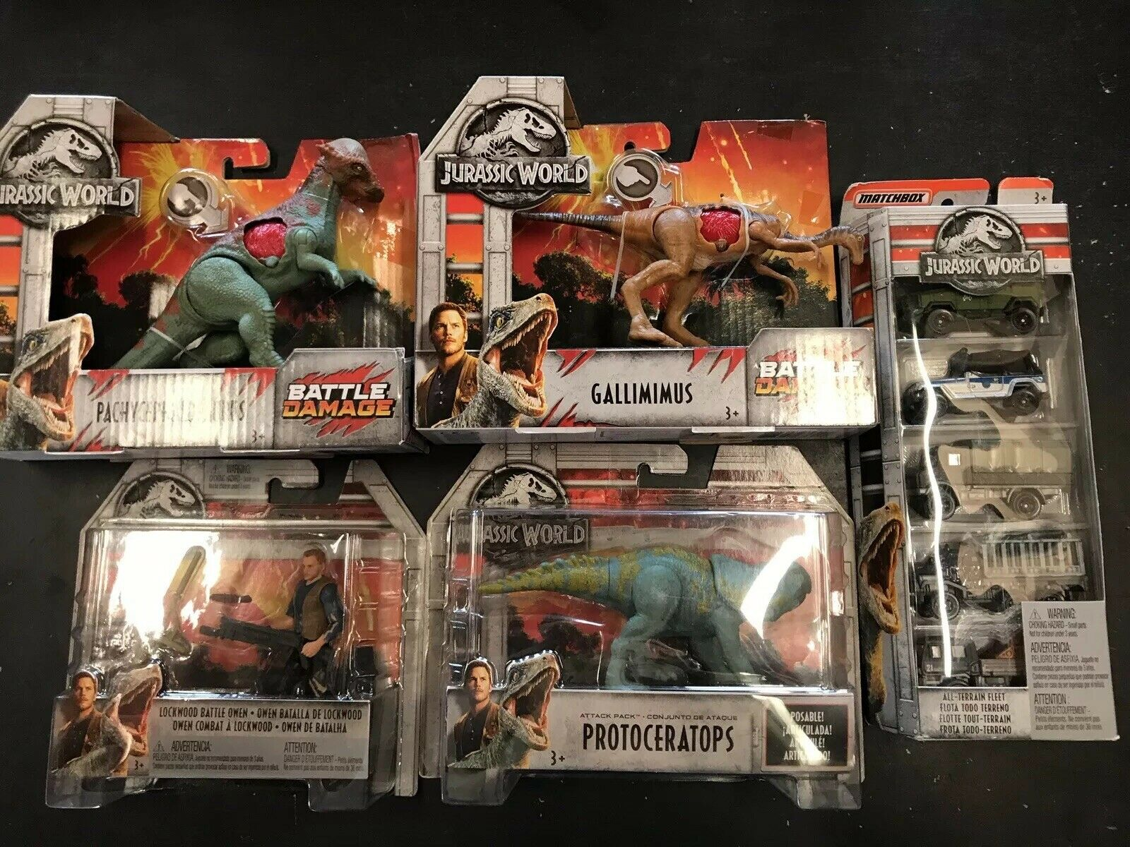 LOT of 5 Jurassic World Toys Gallimimus Protoceratops Owen Matchbox Cars NEW
