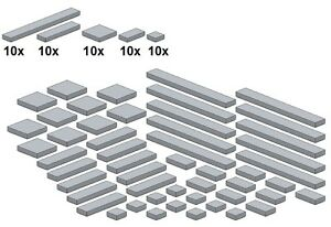 Lego-Bricksy-039-s-Bascis-Neues-Hellgrau-G10-Glatte-Teile-Lightbluishgray