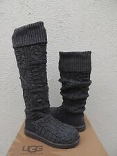 UGG GREY OVER THE KNEE TWISTED CABLE KNIT/ SHEEPSKIN BOOTS, US 10/ EUR 41 ~NEW