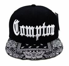 Black Compton Vintage Embroidered Hip Hop Flat Bill Bandana Snapback Cap Hat