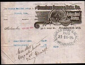 1884 Milwaukee WI Schwaab Stamp & Seal Co Rubber & Metal Stamps Letter Head Rare
